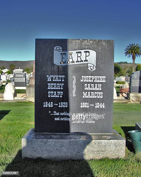 The grave site of Wyatt Earp & Wife Josephine, Hills of Eternity Cemetery, Colma, Calfornia.