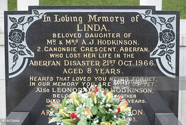 The graves of the victims of the Aberfan disaster are seen in the cemetery as the 50th anniversary of the tragedy approaches on October 13 2016 in...