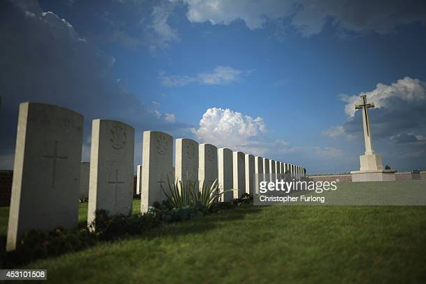 The graves of the WW1 fallen lay near the Cross of Sacrifice at The Welsh Military Cemetery on August 2 2014 in Ypres Belgium Monday 4th August marks...