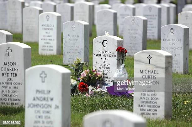 The gravesite of MuslimAmerican US Army Capt Humayun Khan is shown at Arlington National Cemetary August 1 2016 in in Arlington Virginia Khan was...