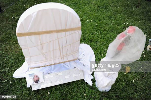 The gravestone of artist Christo from the art installation Eternity is displayed after the ceremony where Italian artist Maurizio Cattelan is given...