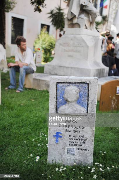 The gravestone of Mark Zuckerberg from the art installation Eternity is displayed after the ceremony where Italian artist Maurizio Cattelan is given...