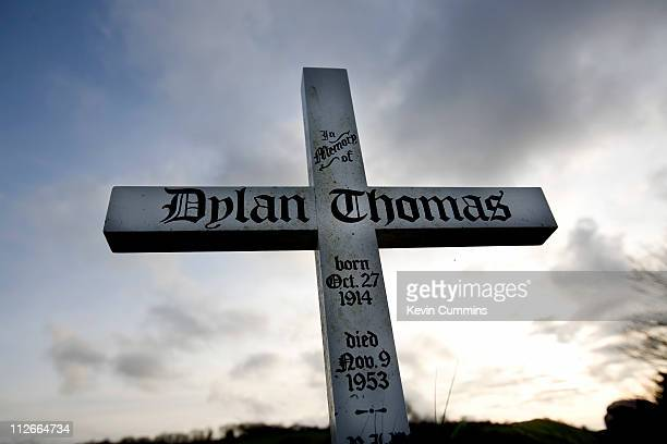 The gravestone of Welsh poet Dylan Thomas in Laugharne Wales 15th April 2011