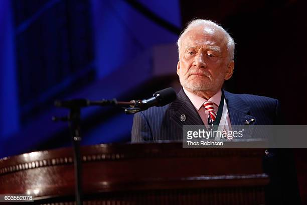 The Great American Icon Award recipient Buzz Aldrin speaks onstage during the 31th Annual Great Sports Legends Dinner to benefit The Buoniconti Fund...