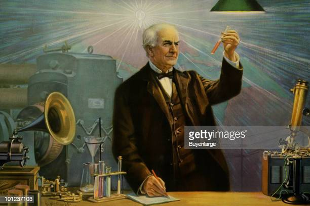 The great American inventor Thomas Edison is surrounded by his creations