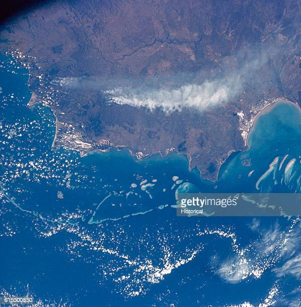 The Great Barrier Reef Cape Melville and Cape Flattery of Queensland Australia as seen by Apollo 7 from space A trail of smoke from forest fires is...