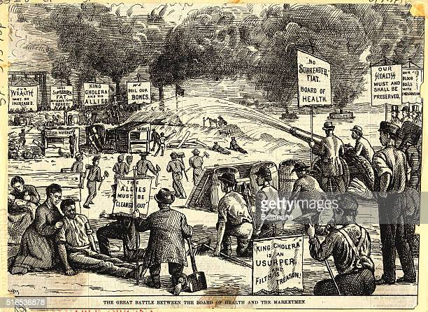'The Great Battle Between the Board of Health and the Marketmen'Cholera cartoon