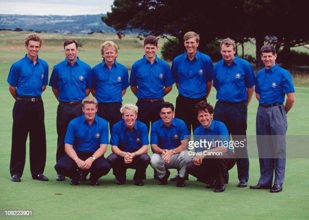 The Great Britain and Ireland team during the Walker Cup at Portmarnock Golf Club Ireland 5th September 1991 Amongst them are Irish golfers Padraig...