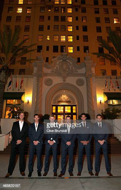 The Great Britain Davis Cup team Dominic Inglot, Andy Murray, Kyle Edmund, captain Leon Smith, James Ward and Colin Fleming pose for a photograph...