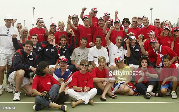 The Great Britain Davis Cup team of Miles Maclagan Arvind Palmer coach Roger Taylor Alex Bogdanovis and Alan Mackin pose for a photo with the Balmy...