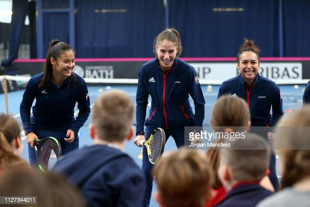 The Great Britain Fed Cup take part in a Tennis for Kids activity with school children ahead of the start of the Fed Cup Europe and Africa Zone Group...