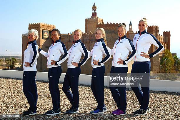 The Great Britain Fed Cup team of Captain Judy Murray Heather Watson Anna Smith Katie Swan Freya Christie and Jocelyn Rae pose for a photo with the...