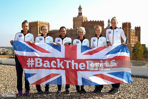 The Great Britain Fed Cup team of Freya Christie Katie Swan Heather Watson Captain Judy Murray Anna Smith and Jocelyn Rae pose for a photo with the...