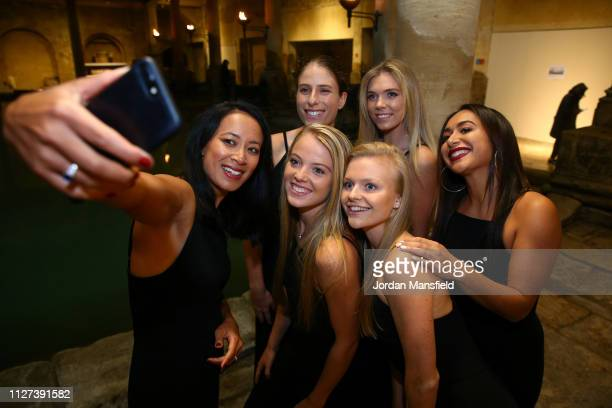 The Great Britain Fed Cup team of Harriet Dart Anne Keothavong Great Britain Captain Katie Swan Joanna Konta Katie Boulter and Heather Watson pose...