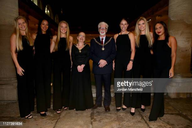 The Great Britain Fed Cup team of Harriet Dart, Anne Keothavong, Great Britain Captain, Katie Swan, Joanna Konta, Katie Boulter and Heather Watson...