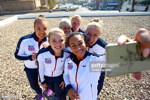 The Great Britain Fed Cup team of Heather Watson Freya Christie Katie Swan Captain Judy Murray Anna Smith and Jocelyn Rae pose for a selfie ahead of...