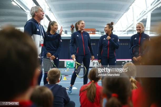 The Great Britain Fed Cup team talk to school children during a Tennis For Kids activity ahead of the start of the Fed Cup Europe and Africa Zone...