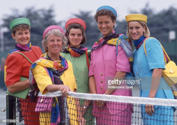 The Great Britain Federation Cup team Clare Wood Ann Hones Samantha Smith Jo Durie and Monique Javer pose together during the opening ceremony of the...