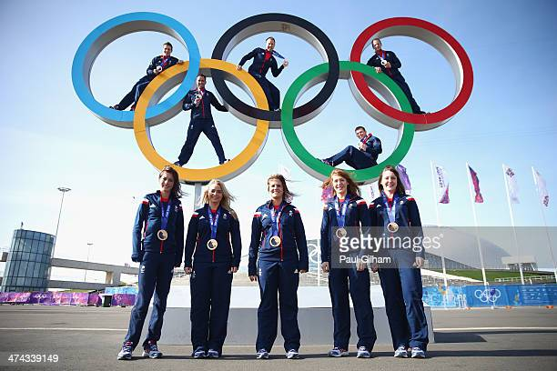 The Great Britain men's and women's Curling teams pose with their medals during a British Olympic Association photocall at the Olympic Park on...