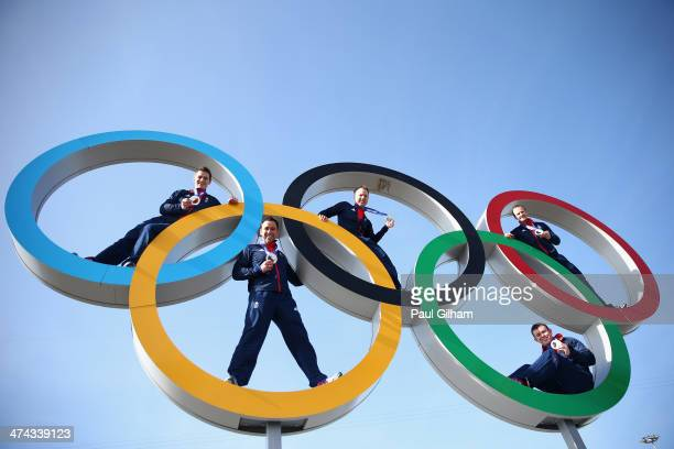 The Great Britain men's Curling team pose with their medals during a British Olympic Association photocall at the Olympic Park on February 23 2014 in...