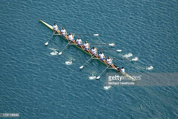The Great Britain Men's Eight crew paddle down to the start for their Semi Final during day four of the FISA Rowing World Championships at Lake Bled...