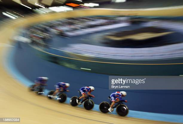 The Great Britain Men's Pursuit team in action during the UCI Track Cycling World Cup LOCOG Test Event for London 2012 Media Day at the London...