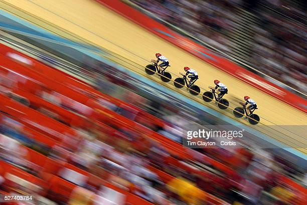 The Great Britain Men's pursuit team of Peter Kennaugh, Steven Burke, Geraint Thomas and Edward Clancy in action on their way to winning the Gold...