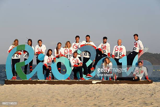 The Great Britain Olympic sailing team pose for a team photograph at the Marina da Gloria on Day 14 of the 2016 Rio Olympic Games on August 19 2016...