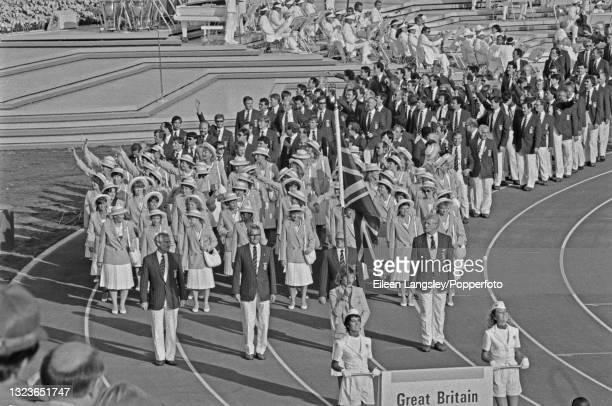 The Great Britain Olympic team, led by their flag-bearer equestrian rider Lucinda Green, enter the stadium during the 1984 Summer Olympics opening...