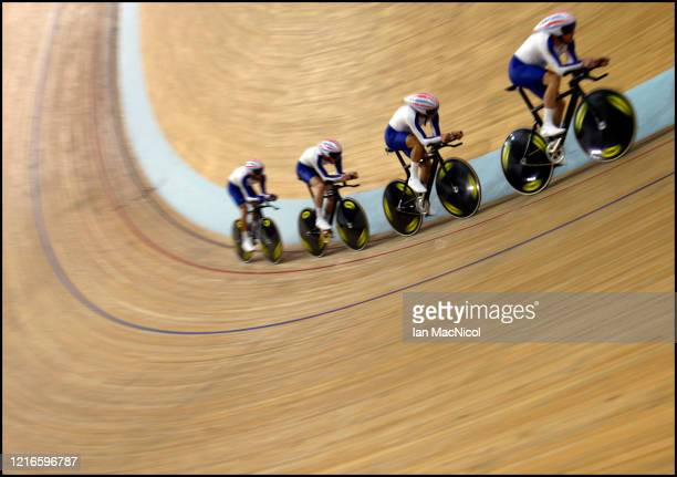 The Great Britain Pursuit team of Paul Manning, Ed Clancy, Geraint Thomas and Bradley Wiggins have their last practice session at the Laoshan...
