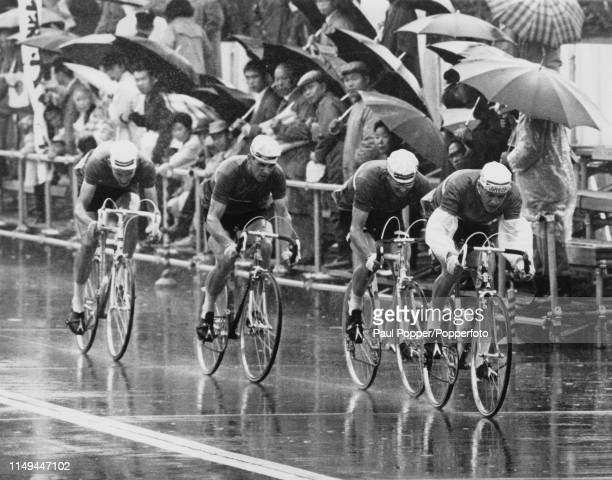 The Great Britain road race cycling team of Robert Addy, Michael Cowley, Derek Harrison and Colin Lewis pictured during competition to finish in 15th...