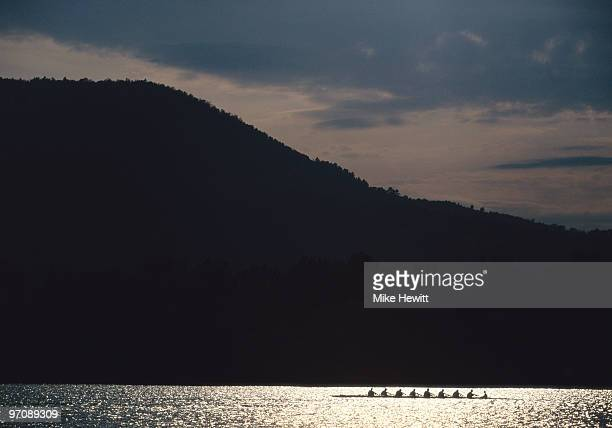The Great Britain rowing eights team training on 1 April 1996 in Banjoyles, Spain.