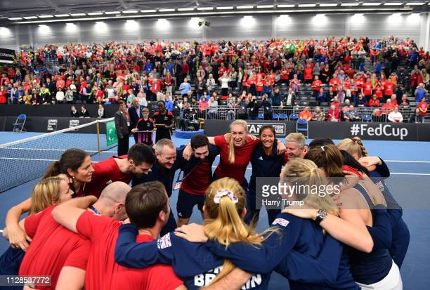 The Great Britain side celebrate after winning during Day Four of the Fed Cup Europe and Africa Zone Group I at the University of Bath on February 09...