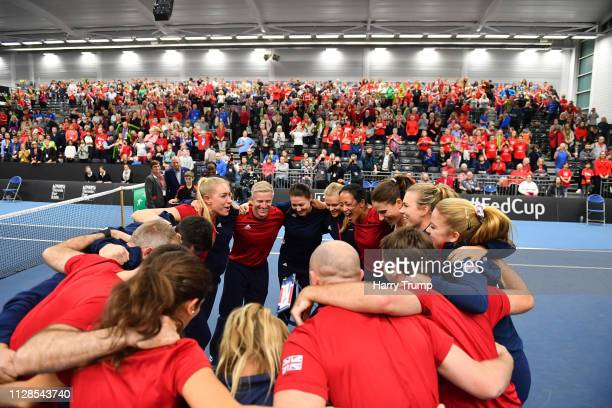 The Great Britain side huddle after winning during Day Four of the Fed Cup Europe and Africa Zone Group I at the University of Bath on February 09...