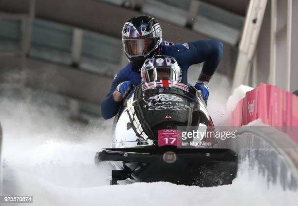The Great Britain sled driven by Brad Hall competes in Heat 2 of the 4Man Bobsleigh at Olympic Sliding Centre on February 24 2018 in Pyeongchanggun...