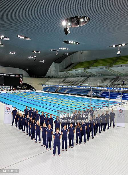The Great Britain Swim Team poses for a photocall during day eight of the British Gas Swimming Championships at The London Aquatics Centre on March...