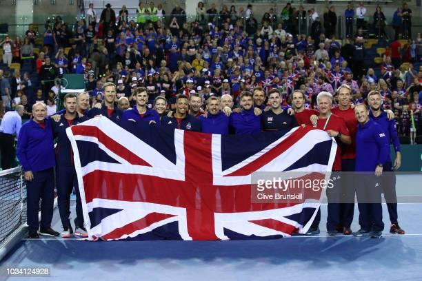 The Great Britain team celebrate after beating the Uzbekistan team in the World Group Play Off during day three of the Davis Cup by BNP Paribas World...