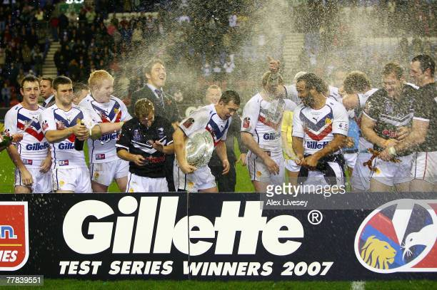 The Great Britain team celebrate after winning the Gillette Fusion Test Series between Great Britain and New Zealand at the JJB Stadium on November...