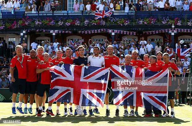 The Great Britain team celebrate their win on Day Three of The World Group Quarter Final Davis Cup match between Great Britain and France at Queens...