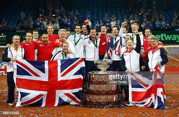 The Great Britain team celebrate with the Davis Cup following victory on day three of the Davis Cup Final 2015 at Flanders Expo on November 29 2015...