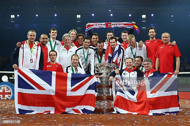 The Great Britain team celebrate with the Davis Cup following victory on day three of the Davis Cup Final 2015 at Flanders Expo on November 29, 2015...