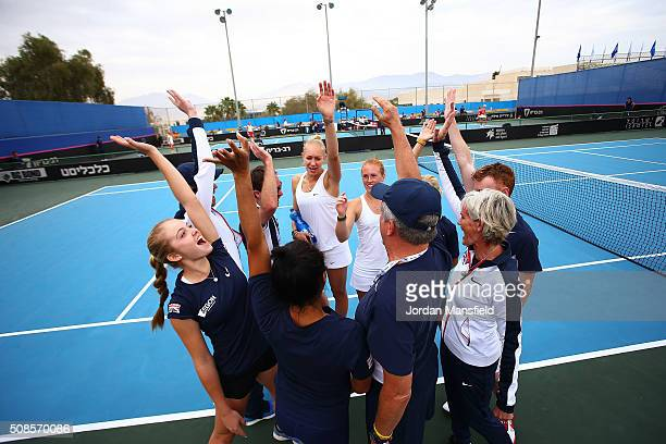 The Great Britain team cheer after victory in their tie against Georgia on day three of the Fed Cup Europe/Africa Group One fixture at the Municipal...
