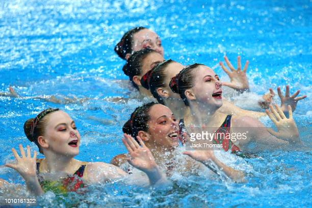 The Great Britain team compete in the Preliminary round of the Team Free Routine during the Synchronised Swimming on Day Two of the European...