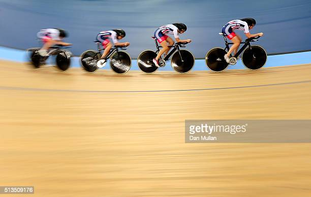 The Great Britain team compete in the Womens Team Pursuit qualifying round during Day Two of the UCI Track Cycling World Championships at Lee Valley...