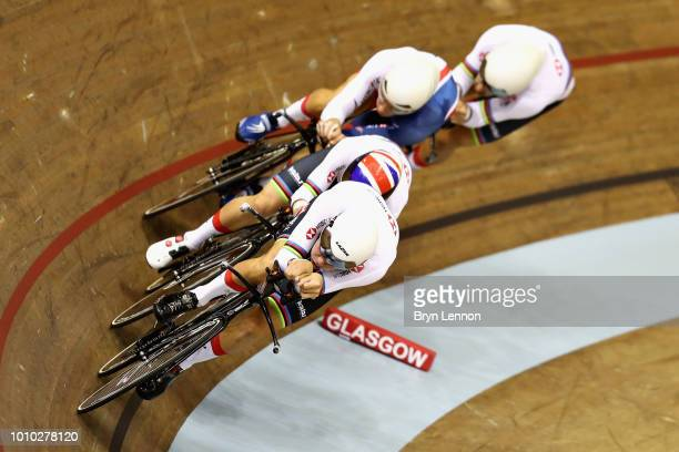 The Great Britain team competes in round one of the Mens Team Pursuit during the track cycling on Day Two of the European Championships Glasgow 2018...