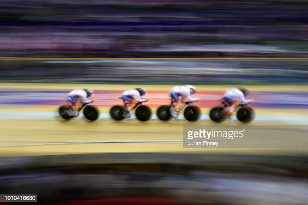 The Great Britain team competes in the gold medal final of the Womens Team Pursuit during the track cycling on Day Two of the European Championships...
