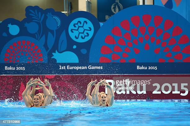 The Great Britain team competes in the Synchronised Swimming Teams Free Routine final during day four of the Baku 2015 European Games at Beach Arena...