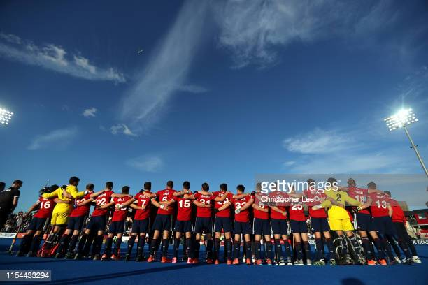 The Great Britain team during their national anthem during the Men's FIH Field Hockey Pro League match between Great Britain and Germany at Lee...