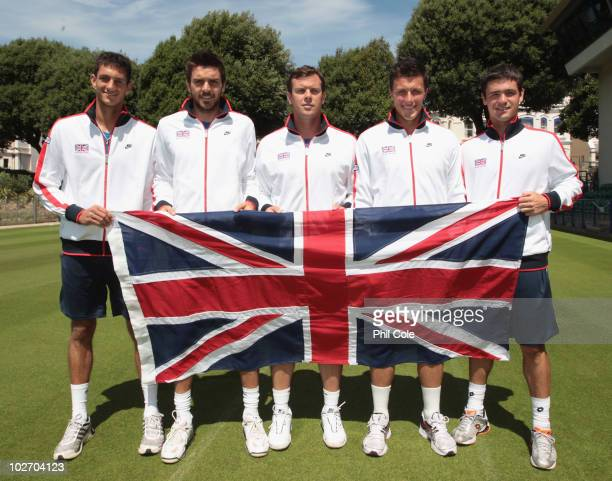 The Great Britain team from L to R James Ward Colin Fleming Captain Leon Smith Ken Skupski and Jamie Baker during the Davis Cup draw between Great...