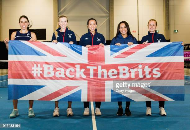 The Great Britain team line up with head coach prior to the Europe/Africa Promotional PlayOff Semi Final match of the Fed Cup by BNP Paribas on...